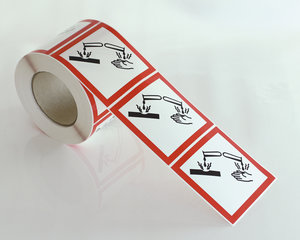 Varoitusmerkit Syövyttävä GHS 05-10x10 cm